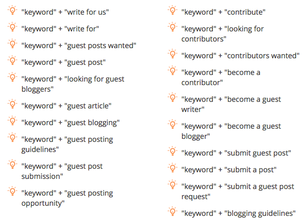 guest blogging search strings