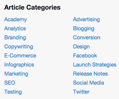 KISSmetrics blog categories