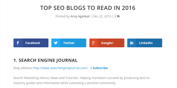 SEO blogs via Feedspot