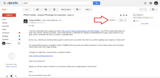 Email Outreach Example 1
