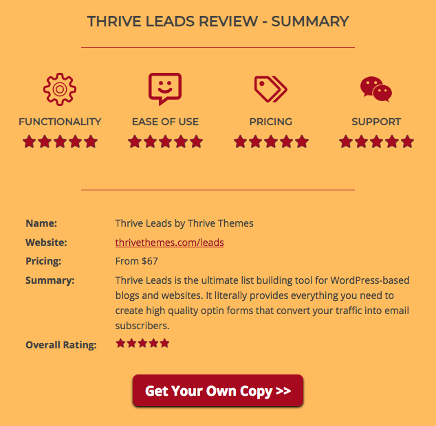 Thrive Architect Review Summary Box