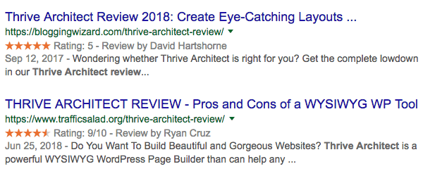 Thrive Architect Reviews on Google Search 2